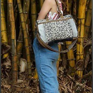 Myra Bag Simplistic Upcycled Canvas & Cowhide Messenger